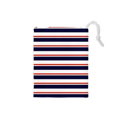 Red With Blue Stripes Drawstring Pouch (small)
