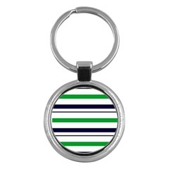 Green With Blue Stripes Key Chain (round)