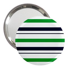 Green With Blue Stripes 3  Handbag Mirrors by tmsartbazaar
