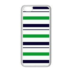 Green With Blue Stripes Iphone 5c Seamless Case (white)