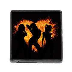 Shadow Heart Love Flame Girl Sexy Pose Memory Card Reader (square 5 Slot)