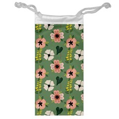 Flower Green Pink Pattern Floral Jewelry Bag by Alisyart