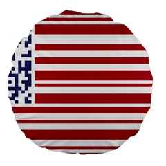 Qr-code & Barcode American Flag Large 18  Premium Round Cushions