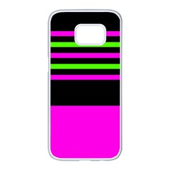 Disco Stripes Samsung Galaxy S7 Edge White Seamless Case
