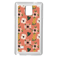 Flower Pink Brown Pattern Floral Samsung Galaxy Note 4 Case (white) by Alisyart