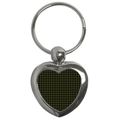 Army Green Black Buffalo Plaid Key Chain (heart) by SpinnyChairDesigns