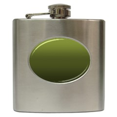 Army Green Gradient Color Hip Flask (6 Oz) by SpinnyChairDesigns