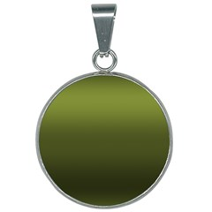 Army Green Gradient Color 25mm Round Necklace by SpinnyChairDesigns