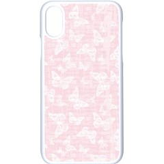Ballet Pink White Color Butterflies Batik  Iphone X Seamless Case (white) by SpinnyChairDesigns