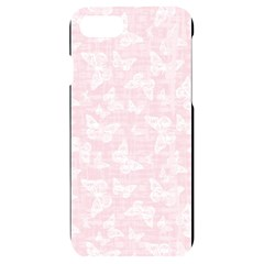 Ballet Pink White Color Butterflies Batik  Iphone 7/8 Black Uv Print Case by SpinnyChairDesigns