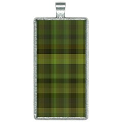 Army Green Color Plaid Rectangle Necklace