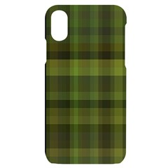 Army Green Color Plaid Iphone X/xs Black Uv Print Case by SpinnyChairDesigns