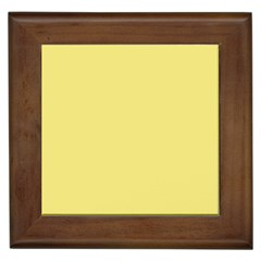 True Lemon Yellow Color Framed Tile by SpinnyChairDesigns