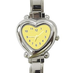 True Lemon Yellow Color Heart Italian Charm Watch by SpinnyChairDesigns