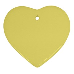 True Lemon Yellow Color Heart Ornament (two Sides) by SpinnyChairDesigns