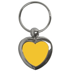 True Saffron Yellow Color Key Chain (heart) by SpinnyChairDesigns