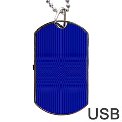 Cobalt Blue Color Stripes Dog Tag Usb Flash (one Side)