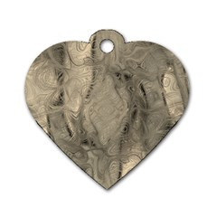 Abstract Tan Beige Texture Dog Tag Heart (two Sides) by SpinnyChairDesigns