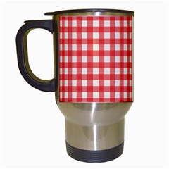 Red White Gingham Plaid Travel Mugs (white) by SpinnyChairDesigns