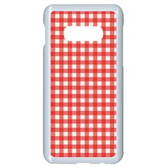 Red White Gingham Plaid Samsung Galaxy S10e Seamless Case (white)