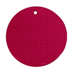 Rose Pink Color Polka Dots Ornament (round) by SpinnyChairDesigns