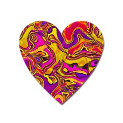 Colorful Boho Swirls Pattern Heart Magnet by SpinnyChairDesigns