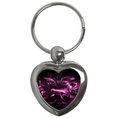 Black Magenta Abstract Art Key Chain (heart)