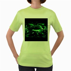 Biscay Green Black Abstract Art Women s Green T-shirt