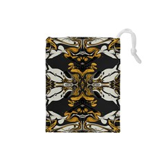 Boho Black Gold Color Drawstring Pouch (small)
