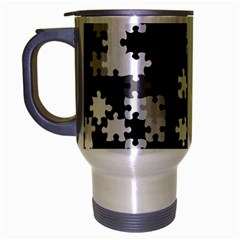 Black And White Jigsaw Puzzle Pattern Travel Mug (silver Gray)