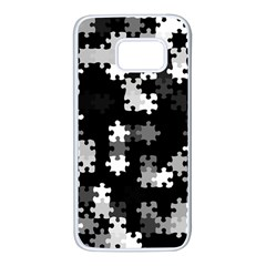 Black And White Jigsaw Puzzle Pattern Samsung Galaxy S7 White Seamless Case