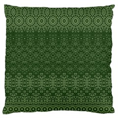 Boho Fern Green Pattern Large Flano Cushion Case (two Sides) by SpinnyChairDesigns