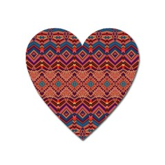 Boho Light Brown Blue Pattern Heart Magnet by SpinnyChairDesigns