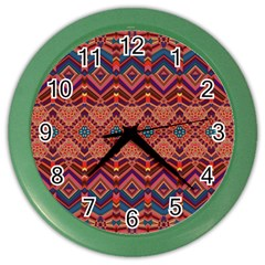 Boho Light Brown Blue Pattern Color Wall Clock
