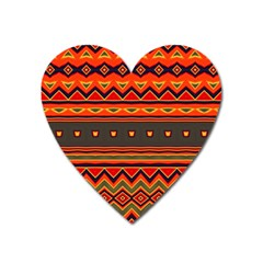 Boho Orange Tribal Pattern Heart Magnet by SpinnyChairDesigns