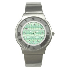 Boho Biscay Green Pattern Stainless Steel Watch by SpinnyChairDesigns