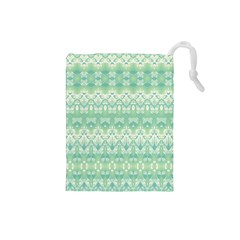 Boho Biscay Green Pattern Drawstring Pouch (small)