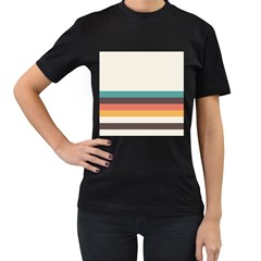 Classic Retro Stripes Women s T-shirt (black) by tmsartbazaar