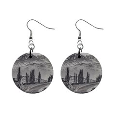 Deserted Landscape Highway, San Juan Province, Argentina Mini Button Earrings