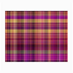 Magenta Gold Madras Plaid Small Glasses Cloth by SpinnyChairDesigns