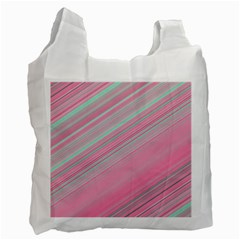 Turquoise And Pink Striped Recycle Bag (two Side)