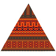 Boho Aztec Rust Orange Color Stripes Wooden Puzzle Triangle