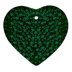 Leaf Forest And Blue Flowers In Peace Ornament (heart)