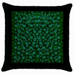 Leaf Forest And Blue Flowers In Peace Throw Pillow Case (black)