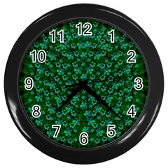 Leaf Forest And Blue Flowers In Peace Wall Clock (black)