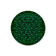 Leaf Forest And Blue Flowers In Peace Rubber Round Coaster (4 Pack)