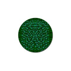 Leaf Forest And Blue Flowers In Peace Golf Ball Marker