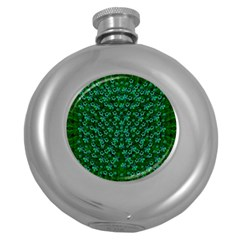 Leaf Forest And Blue Flowers In Peace Round Hip Flask (5 Oz)