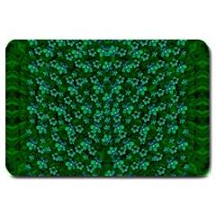 Leaf Forest And Blue Flowers In Peace Large Doormat