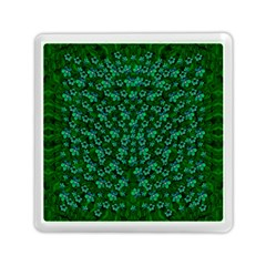 Leaf Forest And Blue Flowers In Peace Memory Card Reader (square)